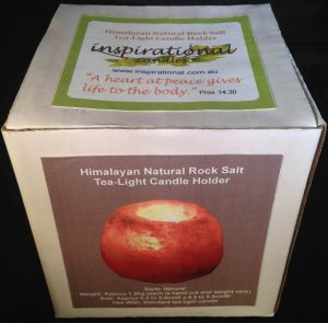 Himalayan Natural Rock Salt Tea-Light Candle Holder - Natural - Box