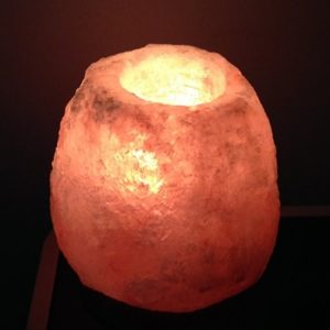 Himalayn Natural Rock Salt Tea-Light Holder - Natural- Burning x 460