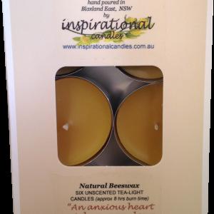 Beeswax Tealights Natural Box x6 Large