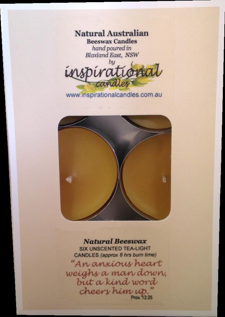 Beeswax Tealights Natural Box of 6 – Large (Tall)